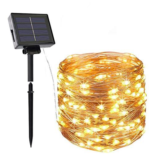 Solar Lichterkette Außen, Opard 20M 200 LED 2 Modi IP44 Kupferdraht Lichterketten für Garten, Hof, Party, Balkon, Hochzeit, Außen, Fest Deko(Warmweiß)