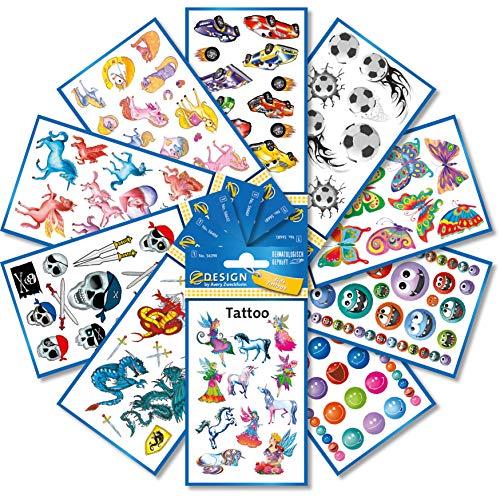 AVERY Zweckform 59993 Tattoos Set Kinder (Kindertattoos wasserfest, Klebetattoos, dermatologisch getestet, Kindergeburtstag, Mitgebsel, Partyspiele, Schatzsuche, Kinder zum Spielen) 246 Stück