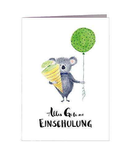Karte Einschulung Mädchen Junge Koala DIN A6 mit Umschlag - Handmade in Hamburg - 100{8216bb11528b8eee3b66ea365791e75d4d6f256c1c2cbef563ebf1a51405a5d5} Recyclingpapier Karte Einschulung Schultüte Einladung