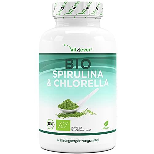 Vit4ever® Spirulina Chlorella Algen Kapseln - 240 Stück mit jeweils 650 mg - Hochdosiert mit 2600 mg je Tagesdosis - Laborgeprüfte Qualität - Premium Superfood - Vegan
