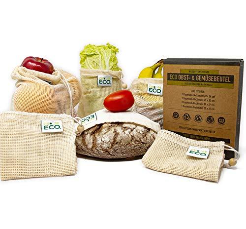 6er-Set Obstbeutel Gemüsebeutel Brotbeutel - 100{d3a232f45282929fd2d3b805629a9ef6d79c11114c7c03afc1bb06838b2cd8c2} Bio Baumwolle GOTS-zertifiziert mit Tara Gewichtsangabe - Einkaufsnetze Wiederverwendbar Obstnetz Plastikfrei Einkaufen Zero Waste