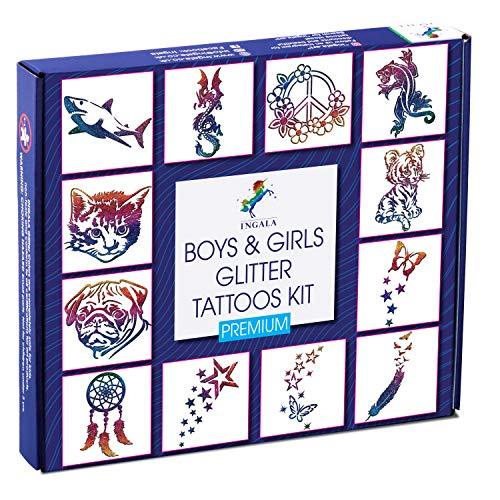 INGALA Premium Glitzer Tattoo Set Jungen und Mädchen | professionelles Glitter Tattoo Set Kinder und Familien | 74 detaillierte Temporäre Tattoos Schablonen | 2 XL (15ml) Körperkleber