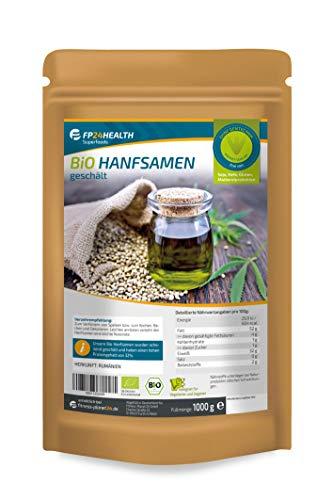 FP24 Health Bio Hanfsamen geschält 1kg - EU anbau - Hoher Protein Gehalt - im Zippbeutel - 1000g - Top Qualität