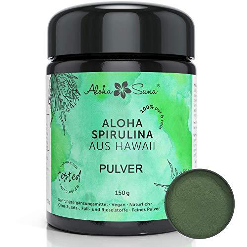 Aloha Sana ® - Hawaii Spirulina Pacifica Algen Pulver, 150 g, Ultraviolettglas, laborgeprüft, energetisch getestet, Made in Germany