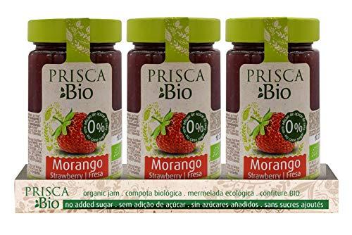 Prisca 100{56e8b2f7b04d0018a857c7e1f9e894dd568d1845cb16b386253aad7a9af56d9a} Bio-Erdbeermarmelade - Ohne Zuckerzusatz - Zertifiziertes Bio-Produkt - Packung mit 3 Einheiten à 240 g