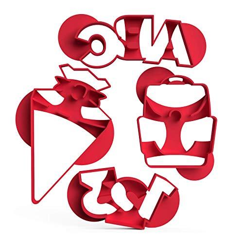 3DREAMS 4er Set Ausstecher Schule │ Keksausstecher Schultüte Zahlen Buchstaben │ 1.Schultag Schulanfang │ aus Bio-Kunststoff │ Made in Germany