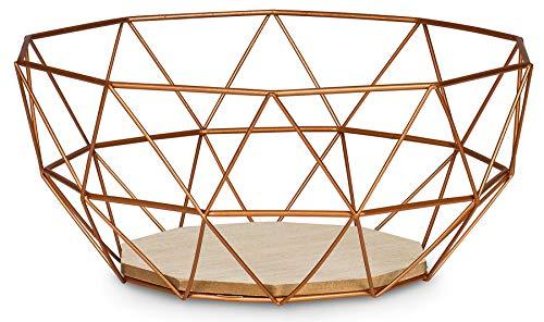 levandeo Korb Metall Kupfer 26x12cm Modern Holz MDF Braun Schüssel Schale Deko Design Tischdeko