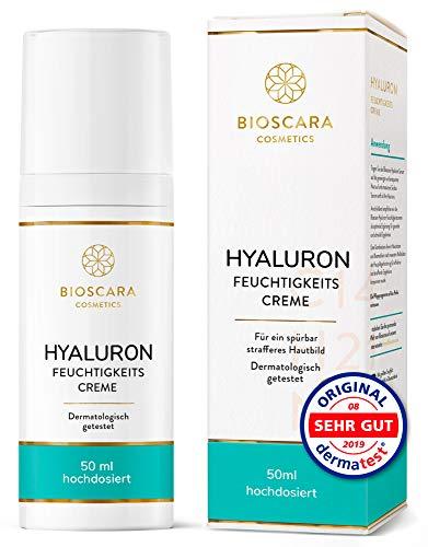 NEU: Bioscara Hyaluron Anti Falten Creme 50ml Extra hochdosiert I Hyaluronsäure Feuchtigkeits Creme mit Vitamin E Collagen und Peptiden I Anti Aging Creme für ein sichtbar strafferes Hautbild