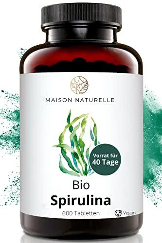 MAISON NATURELLE® Bio Spirulina Presslinge (500 Stück) - 100{f61ec138408437db6e639192d70bb103e1460fd7645b57e7903da70290d7e1b6} reine Bio Spirulina Alge ohne Zusätze - Hochdosiert mit 6.000mg Bio Spirulina je Tagesdosis - 100{f61ec138408437db6e639192d70bb103e1460fd7645b57e7903da70290d7e1b6} Vegan