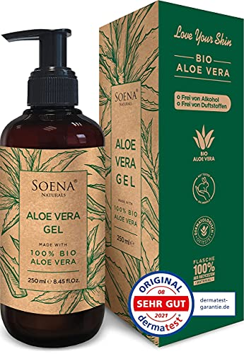 Aloe Vera Gel mit 100{397927679473859dffaf2e894f8def8a6936b8614de4d5aa82db3dee9321a2f4} Bio Aloe Vera | Frei von Alkohol & Parfüm | NATURKOSMETIK | Tierversuchsfrei | Feuchtigkeitspflege von SoenaNaturals | After Sun - 250ml - Made in Germany