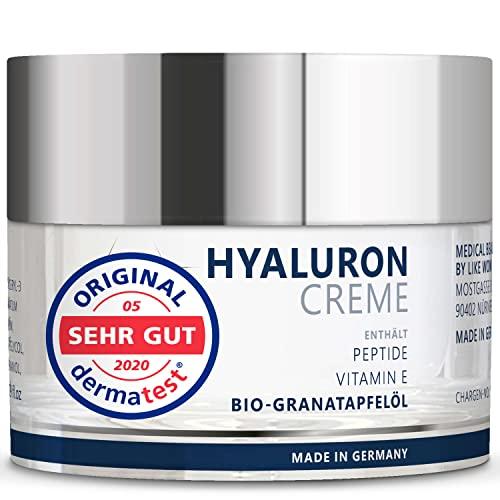 Anti-Aging Hyaluron-Creme mit 3 Hyaluronsäuren und Peptiden. Anti-Falten-Creme für Augen, Gesicht und Dekolleté (50 ml)