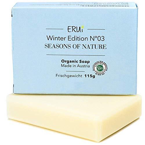 ERUi® Bio Gesichtsseife Winter, Naturseife für trockene, unreine und empfindliche Haut, Handgemachte biologisch abbaubare Naturkosmetik Bio Seife Ohne Palmöl, Zusätze & Duftstoffe (1 x 115 g)