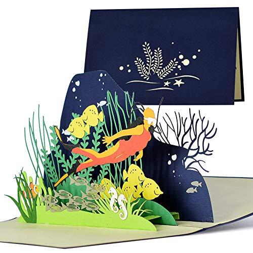 Geburtstagskarte für Taucher, Gutschein zum Tauchen, Reisegutschein zum Tauchen Schnorcheln, Geschenkideen zum Geburtstag, Hochzeit, Urlaub, H19AMZ