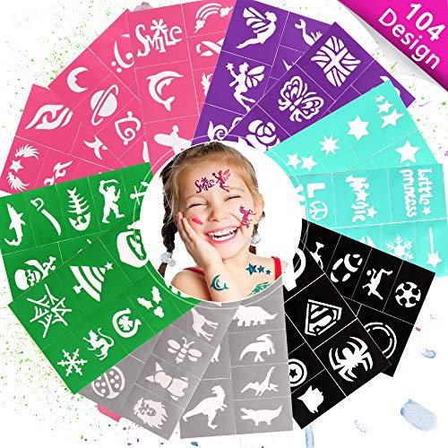 Eyscoco Tattoo Kinder,104 Design Tattoo Schablonen für Kinder,Temporäre Tattoos Kinder Schminkschablonen für Mädchen Jungen,Kreativität Tattoo Schablone für Kinder Schminke Partys