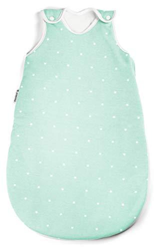 Ehrenkind® Babyschlafsack Rund | Bio-Baumwolle | Ganzjahres Schlafsack Baby Gr. 50/56 Farbe Mint mit weißen Sternen