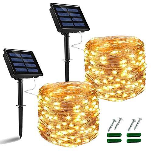 Nurkoo Solar Lichterkette Aussen, 2 Stück 10M 100 LED Außen IP64 Wasserdicht 800mAh Kupferdraht Lichterketten für Weihnachten Partys Garten Hochzeiten Dekoration, Warmweiß